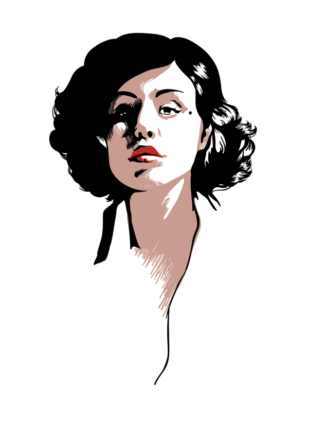 a drawing of Audrey Horne from twin peaks